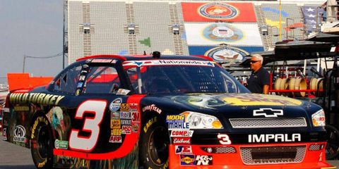 Austin Dillon will start on the front row for today's NASCAR Nationwide Series race at Charlotte Motor Speedway.