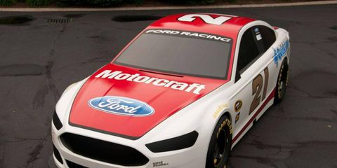 A first look at a paint scheme for the Wood Brothers 2013 Ford Fusion.