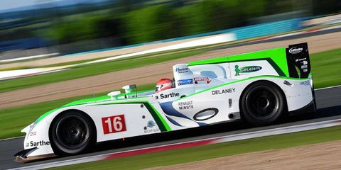 The Pescarolo-Judd 03, which is built around the monocoque and suspension of the ill-fated Aston Martin AMR-One, was put through its paces at France's Magny-Cours circuit.