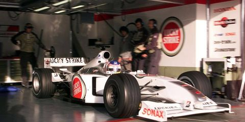 Former F1 champion Jacques Villeneuve, shown in his car in 2000, had stiff words for the student protests in Quebec.