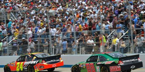 Jeff Gordon (24) and Dale Earnhardt Jr. (88) are at different ends of the Chase for the Championship equation at the halfway point of the Sprint Cup Series regular season.