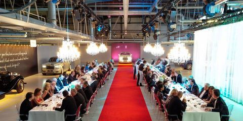 Guests dine in the Rolls-Royce Goodwood factory in England.