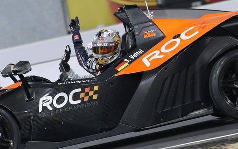 Germany's Sebastian Vettel in the KTM X-Bow.