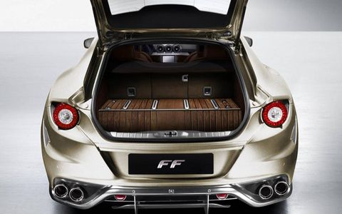 The trunk of a Ferrari FF with oiled teak