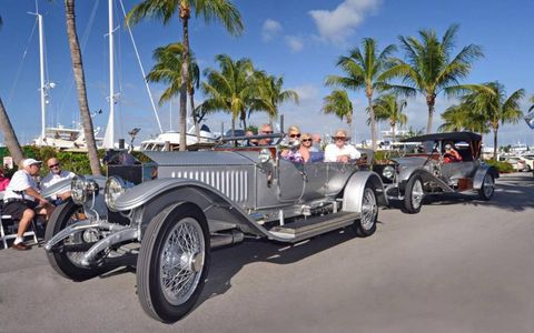 A pair of Rolls Royce Silver Ghosts wait for their turn at Ocean Reef's Vintage Weekend. In front is a 1914 Open Tourer owned by Don and Darby Wathne; at rear is Walt and Jean Zeigler's 1926 Roadster.