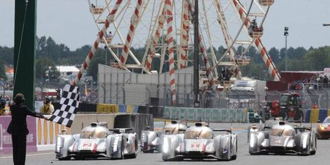 Audi took the top spots at Le Mans before an estimated 240,000 fans on Sunday.