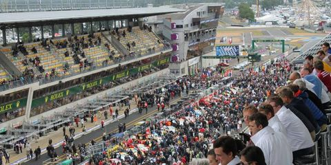 Fans watch the action at Le Mans.
