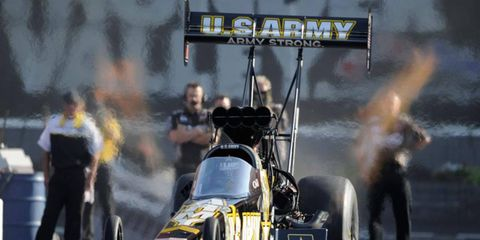 Tony Schumacher snapped a 32-event winless string with the Top Fuel win at Bristol.