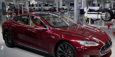 A Model S in the Tesla Factory, Fremont, CA.