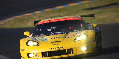 The No. 74 Corvette flies around the track at the 24 Hours of Le Mans. Corvette will continue to have a presence at the race.