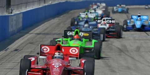 Scott Dixon, leading the pack here, received a penalty in Milwaukee that IndyCar Series race director Beaux Barfield later said was administered in error.