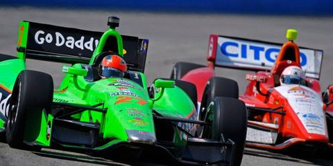 James Hinchcliffe, left, is still seeking his first IndyCar Series oval victory, but his consistency has vaulted him to the top of the series' oval series points lead.