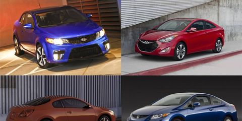 These four coupes all cost less than $25,000 and offer front-wheel drive.