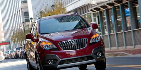 The 2013 Encore has the trademark Buick waterfall front grille.