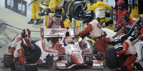 Justin Wilson, pictured during a pit stop last month, was involved in an accident Friday in Toronto.