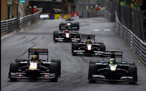Heikki Kovalainen leads Jaime Alguersuari, Bruno Senna and Karun Chandhok in Monte Carlo, Monaco on May 16th, 2010.