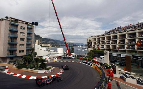 Sebastien Buemi leads Jaime Alguersuari in Monte Carlo, Monaco on May 16th, 2010.