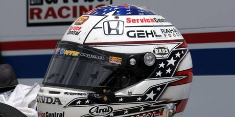 Graham Rahal will swap his helmet's usual paint scheme (pictured) with one designed by a fan.