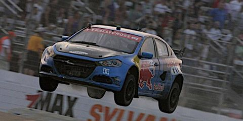 Travis Pastrana in a Dodge Dart went all out to win the Global RallyCross Championship event at New Hampshire on Saturday.