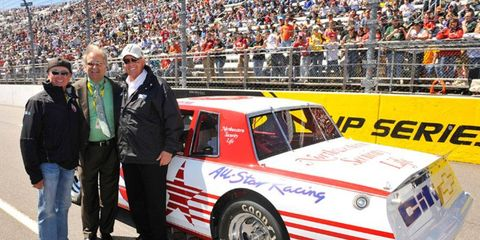 From left: Former NASCAR driver Geoffrey Bodine, Clay Campbell and mega-team owner Rick Hendrick at Martinsville Speedway.