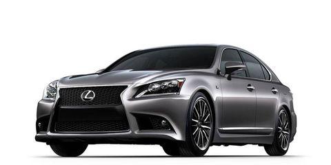 A front three-quarter view of the new Lexus LS F-Sport model.