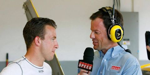 Driver A.J. Allmendinger, left, was released from Penske Racing on Aug. 1.