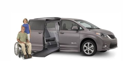 Shown here is the 2012 Toyota Sienna XLE with Braunability Rampvan XT conversion.
