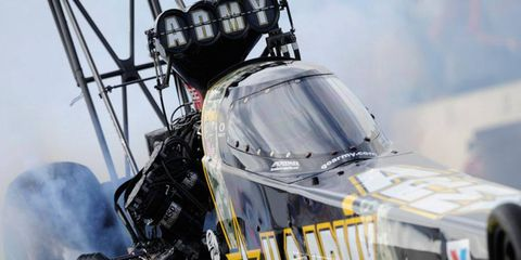 Tony Schumacher's Top Fuel dragster sports the new canopy during qualifying at Brainerd, Minn., on Friday.