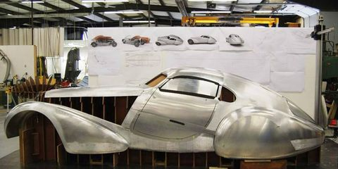The handcrafted aluminum body built for the 1939 Bugatti Type 64 Coupe designed by Stuart Reed and constructed by Automobile Metal Shaping.