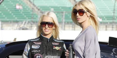 After last month's Twitter feud with Kevin Harvick, Angela Cope (left), along with sister Amber, are out to prove they belong in NASCAR.