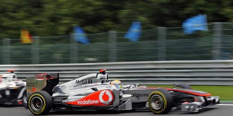 Lewis Hamilton speeds around the track during last year's Belgium Grand Prix. The race has been extended for three more years.