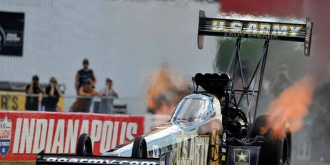 Tony Schumacher beat Spencer Massey in the Top Fuel final at Indianapolis on Sunday to pass Don Garlits for most Top Fuel wins.