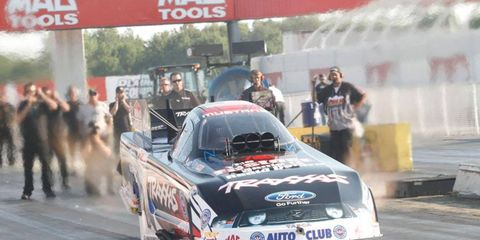 Courtney Force is the top qualifier in Funny Car at Indianapolis. Qualifying will resume on Sept. 8, and the eliminations have been postponed until Sept. 9.