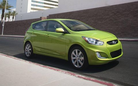 The 2012 Hyundai Accent SE competes with the Kia Rio, Ford Fiesta, and other small cars.