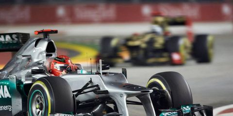 Michael Schumacher admitted a mistake that caused a crash on Sunday at Singapore.