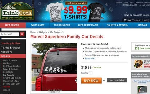Superhero family decals for your rear window beats stick figures any day.