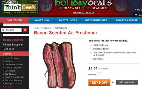A bacon air freshener is an inexpensive and fun gift.
