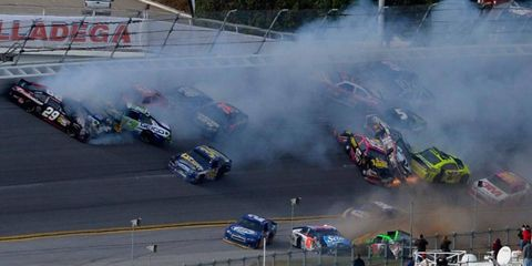 Dale Earnhardt Jr. was one of nearly 25 drivers caught up in the last-lap wreck at Talladega on Sunday.
