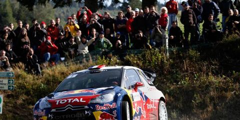 Sébastien Loeb thrills the home crowd en route to the WRC win. The victory clinched the ninth championship in the series for Loeb.
