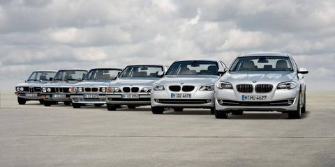A line-up of the BMW 5-Series from E28 to the current F10.