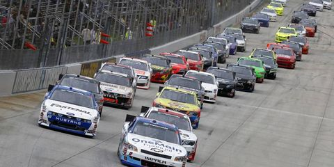 Elliot Sadler leads the way during the Nationwide race in Dover. Sadler is in line to have a full time Nationwide ride next season with Joe Gibbs Racing.