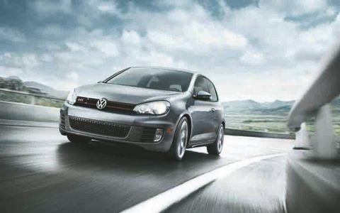The 2012 Volkswagen GTI Autobahn rides on a set of Serron alloy wheels.
