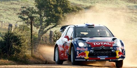 Sebastien Loeb, who has already clinched the season points championship in the World Rally Championship, is the first-day leader at Rally Italy.