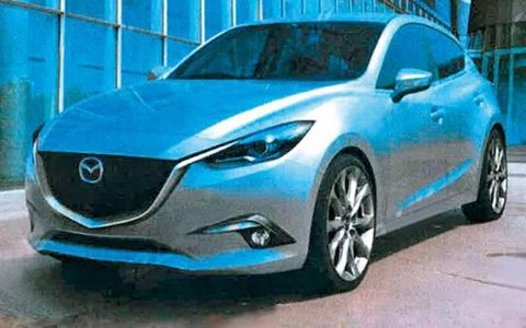 A set of photos may show the redesigned 2014 Mazda 3 sedan and hatchback.