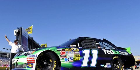 Denny Hamlin had to go to the medical center after he felt dizzy following a crash in testing.
