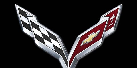 The redesigned Crossed Flags emblem for the 2014 Chevrolet Corvette.