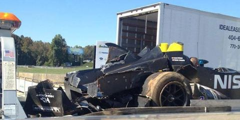 The Nissan DeltaWing suffered heavy damage on the back end in a rollover accident at Road Atlanta on Wednesday.