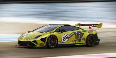 The Lamborghini Gallardo 570-4 Super Trofeo received aero improvements for 2013.