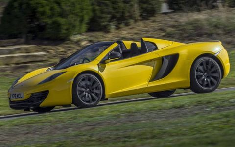 The 2013 McLaren 12C Spider weighs just 88 pounds more than the coupe version.