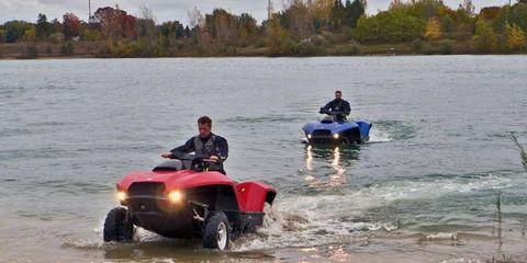 Part jet ski, part all-terrain vehicle, the Gibbs Sports Amphibian Quadski is speedy transportation on land and water.